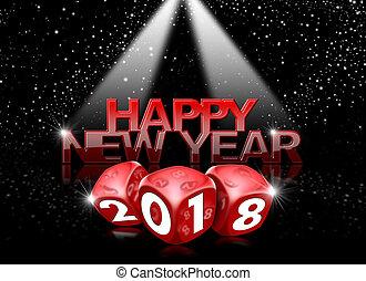 dobbelsteen, 2018, jaar, nieuw, rood, vrolijke