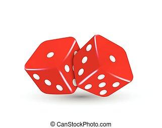 dobbelsteen, casino, twee, illustratie, vector, rood