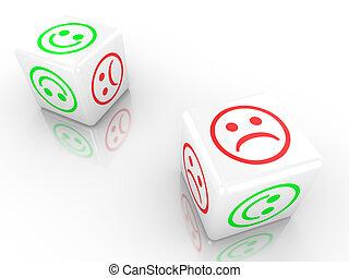 dobbelsteen, het tonen, twee, verdrietige , gezichten, het glimlachen