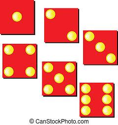 dobbelsteen, illustratie, rood