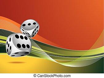 dobbelsteen, kleur, casino, twee, illustratie, achtergrond