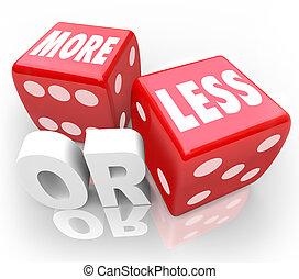 dobbelsteen, minder, willekeurig, toevallig, kans, rood, woorden, of, gokken, meer