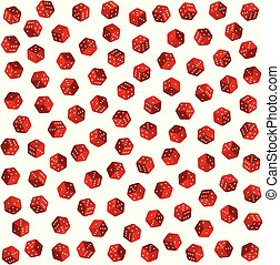 dobbelsteen, model, seamless, vector, achtergrond, wit rood