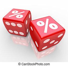 dobbelsteen, percententeken, koers, gokken, belangstelling, tekens & borden, best
