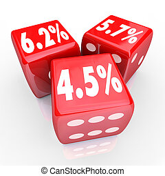 dobbelsteen, refinance, procent, drie, koers, getallen, belangstelling, schuld, cred, rood
