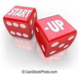 dobbelsteen, zakelijk, start, kans, toekomst, wikkeling, nieuw, wedden