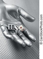 dobbelstenen, geluksspelletjes, hand, futuristisch, metafoor