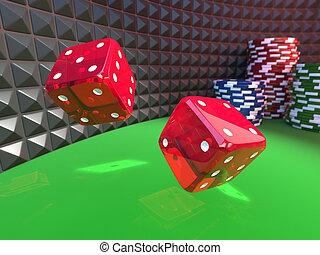 dobbelstenen, op, een, casino, tafel