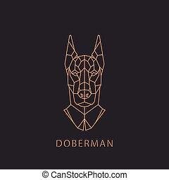 Doberman dog in geometric modern style.