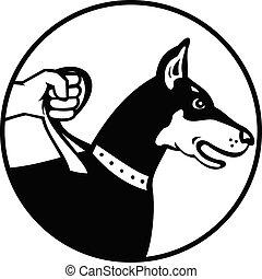 Dobermann Doberman Pinscher or Dobie on Leash Side View Retro Black and White