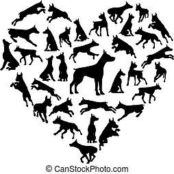 Dobermann Dog Heart Silhouette Concept