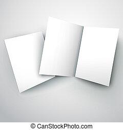 doblado, ilustración, papel, vector, blanco, blanco
