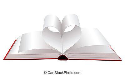 doblado, libro, abierto, páginas