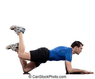 doblado, pierna, entrenamiento, fondo., rais, blanco,...