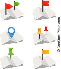 doblado, resumen, mapa ciudad, con, colección, de, flags.,...