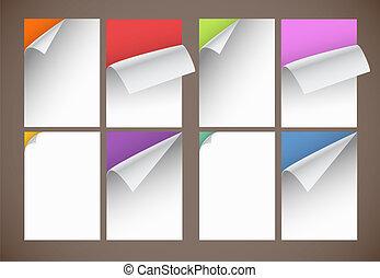 doblando, color, esquinas, colección, papel, hojas, blanco