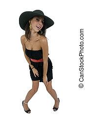 doblando, modelo, con, sombrero