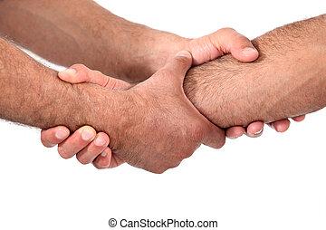 doble, apretón de manos, abrochado