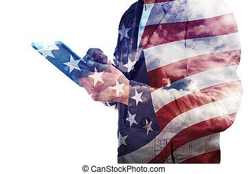 doble, bandera, hombre de negocios, américa, nube,...