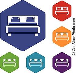 doble, conjunto, cama, iconos
