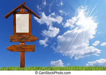 doble, direccional, cielo azul, de madera, señales