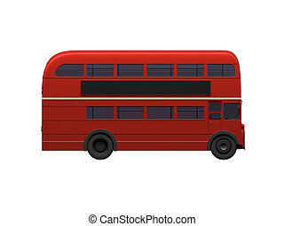 doble, encima, decker, blanco, autobus, rojo