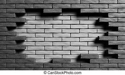 doble, fin, pared, muerto, representación