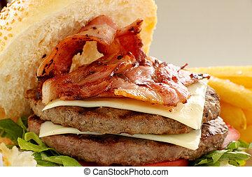 doble, hamburguesa de queso de tocino