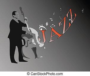 doble, jazz, bajo, hombre, juego