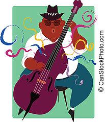 doble, músico de jazz, tocar bajo