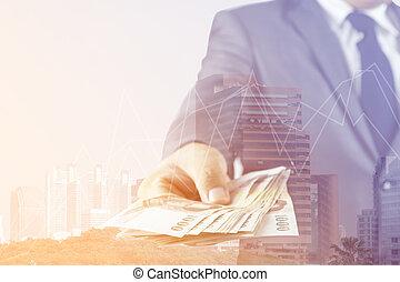 doble, mano, dinero, cityscape, hombre de negocios, exposición