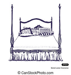 doble, moderno, piel, madera, dormitorio
