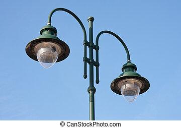 doble, moderno, verde, lamppost
