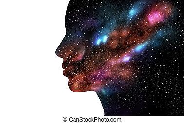 doble, mujer, galaxia, exposición