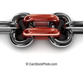 doble, rojo, cadena, link.