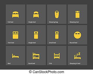 doble, solo, cama, icons.