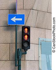 doble, tráfico, luz roja