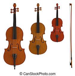 doble, viola, violín