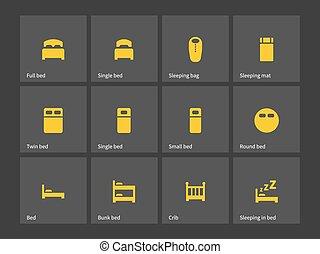 doble, y, solo, cama, icons.
