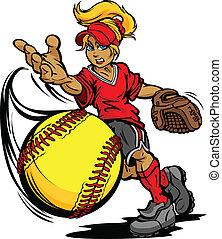 dobott, labda, művészet, softball labdajáték, lovagi torna, dobójátékos, gyorsan, fastpitch, vektor, ábra, bukdácsolás, karikatúra
