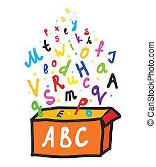 doboz, ábécé, irodalomtudomány
