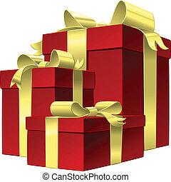doboz, állhatatos, arany, tehetség vonó, vektor, piros szalag