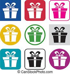 doboz, állhatatos, színes, tehetség, ikonok, vektor
