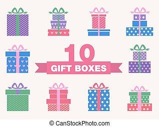 doboz, állhatatos, színes, tehetség, jelkép, vektor