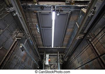 doboz, épület, belső, felvonó, magas, sh, lift, builting,...
