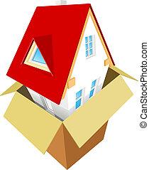 doboz, épület, ki, új