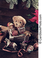 doboz, öreg, fából való, szüret apró, karácsony