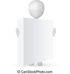 doboz, 10, -, eps, vektor, hatalom kezezés, kicsi, 3, ember