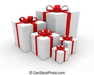 doboz, 3, karácsonyi ajándék, piros
