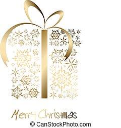 doboz, arany-, elkészített, hópihe, christmas ajándék